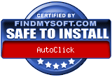 FindMySoft.com Safe To Install Award: AutoClick